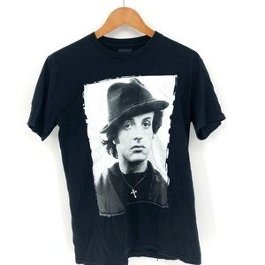 SYLVESTER STALLONE TEE t-shirt black short sleeve